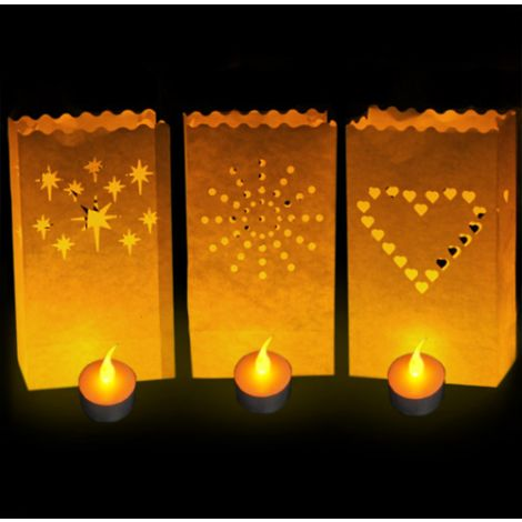 LED Tea Candle & Luminary Bag - 10 Pack