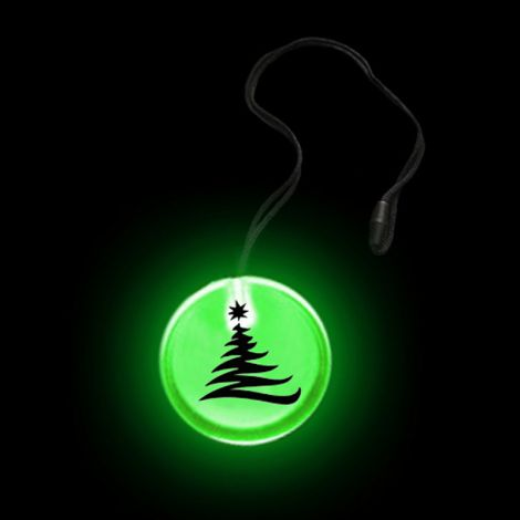 Flashing Circular Pendant Necklace- XMAS TREE