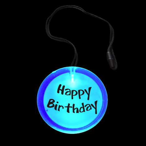 Flashing Happy Birthday Circle Pendant Necklace