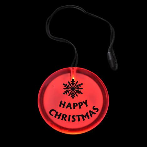 Light Up Flashing Happy Christmas Circle Pendant Necklace