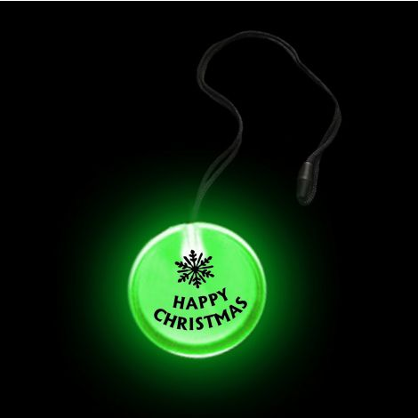 Flashing Circular Pendant Necklace- HAPPY XMAS