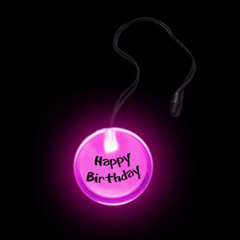 Flashing Circular Pendant Necklace- HAPPY BIRTHDAY