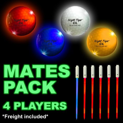LED Golf Ball Gift Pack. Premier Night Flyer CL - For 4 Mates.