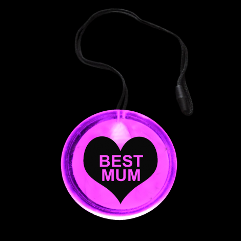 Light Up Flashing Best Mum Circle Pendant Necklace