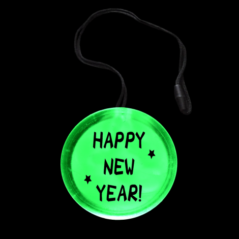 Light Up Flashing New Year Circle Pendant Necklace