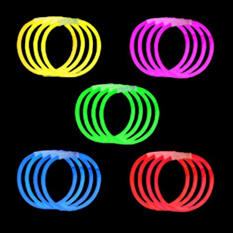"8"" Single Colour Glow Bracelets"