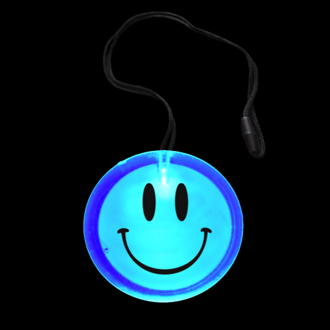Light Up Flashing Smiley Circle Pendant Necklace