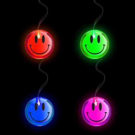 Flashing Circular Pendant Necklace- SMILEY