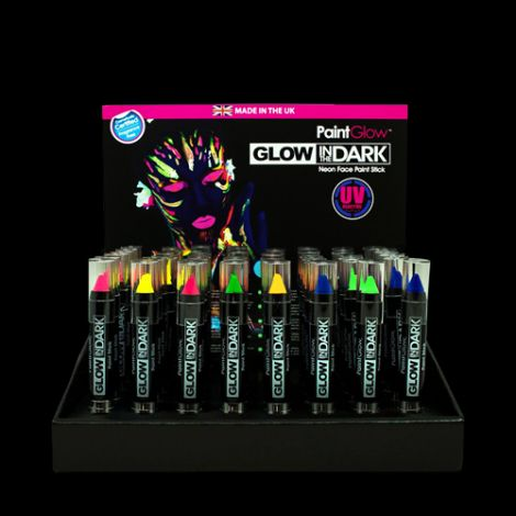 48 x Glow In The Dark Paint Sticks With FREE Stand