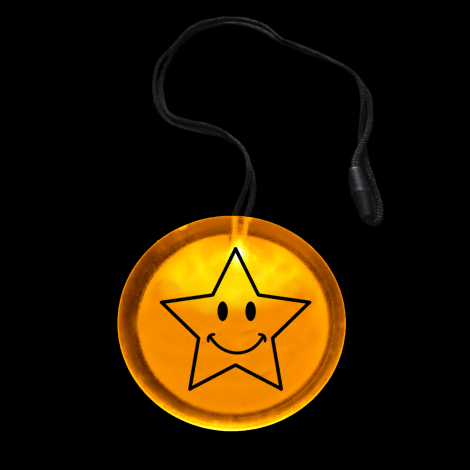 Light Up Flashing Happy Star Circle Pendant Necklace