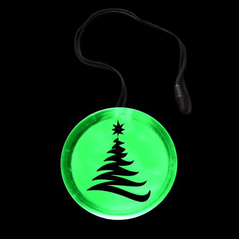 Flashing Christmas Tree Circle Pendant Necklace